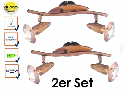2x Globo Design Deckenstrahler Deckenleuchte LORD Kupfer Holz mit LED, Strahler