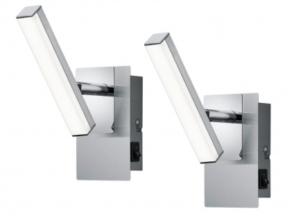 LED Wandstrahler 2er Set Nickel matt Spot schwenkbar 4, 5W - Schlafzimmerlampen
