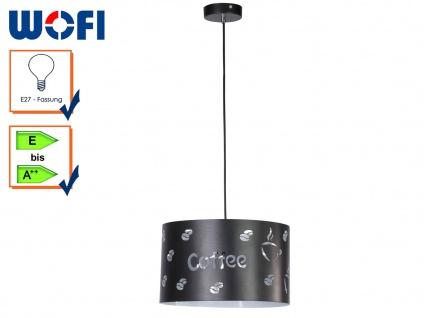 Pendelleuchte mit DEKOR, Lampenschirm schwarz Ø33cm, Küchenlampe Esstischleuchte