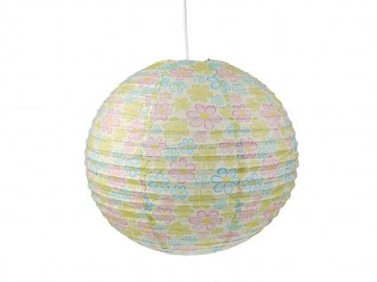 Kinderlampe mit Papier Lampenschirm BLUMEN Lampion Hängeleuchte Kinderzimmer
