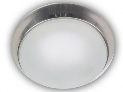 Deckenleuchte, Glas satiniert, Dekorring Nickel matt, Ø 35cm, Niermann