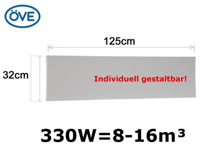 330W Infrarotheizung, 125x32cm, f. Räume 8-16m³, individuell bemalbar
