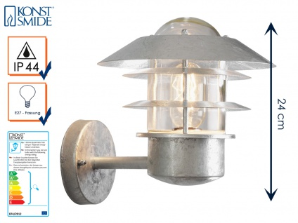 Wandleuchte Wandlampe MODENA galvanisierter Stahl, E27, Höhe 24cm IP44