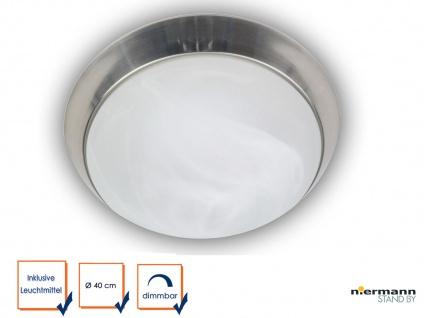 LED Deckenleuchte rund Ø40cm Alabaster Nickel matt LED Wandleuchte dimmbar