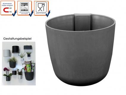 Kunststofftopf mit Magnet Ø 10cm Grau, Wandaufbewahrung Wanddeko, KalaMitica