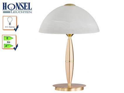 Klassische Tischleuchte Messing Glasschirm Höhe 36cm E14 Nachttischlampe Diele