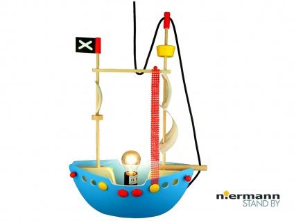 Hängeleuchte Kinderzimmerlampe PIRATENSCHIFF Holzschiff Kinderlicht Jungen