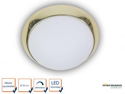 LED Flurbeleuchtung Dielenleuchte Ø 45cm Opalglas / Messing Deckenleuchte rund