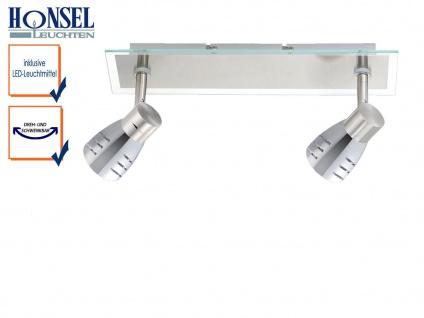 2flammiger LED Deckenstrahler Chrom Glas mit Spots Metall, Beleuchtung Wohnraum