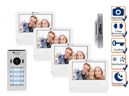 SET Türgegensprechanlage 4 Familienhaus Videosprechanlage mit Türöffner & Kamera