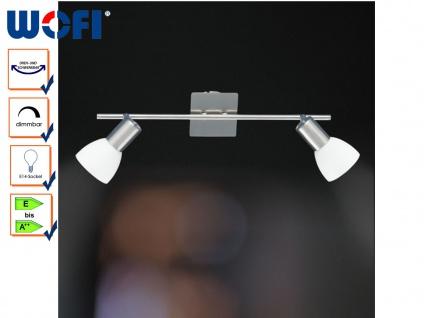 2-flg. Deckenstrahler, Nickel / Glas, schwenkbar, Wofi-Leuchten