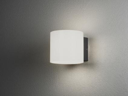 Schöne LED Terassenlampe aus ALU in grau/ opalweiß 14x15cm, IP54, Gartenleuchten