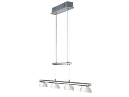 LED Pendelleuchte Hängelampe SENATOR Nickel matt Glas weiß B. 90 cm