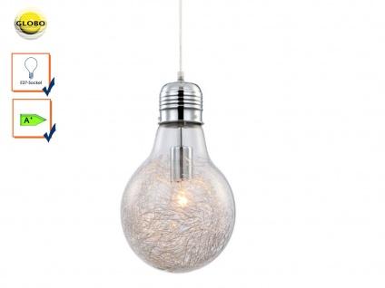 Pendelleuchte Glühbirne, Chrom / Glas mit Alugeflecht, inkl. E27 LED, Globo