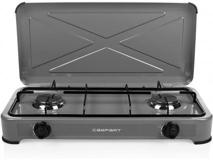 Tragbarer Gaskocher Campingkocher, 3 kW, 2 Kochplatten Edelstahl Brenner OUTDOOR - Vorschau 3
