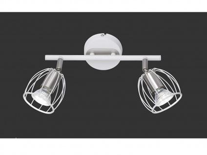 Deckenstrahler 2 flammig schwenkbar mit Gitter Lampenschirm in Weiß Wandstrahler
