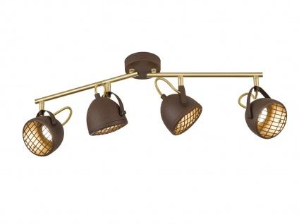 4flammiger LED Retro Deckenstrahler rost schwenkbar, Spotleiste Industrial Look