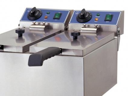Gastro Doppel Fritteuse 2x 2000 Watt, Elektro Edelstahl Profi Fritteuse Friteuse - Vorschau 3