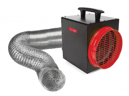 Elektrischer Baustellenheizer mit Thermostat & Luftschlauch - Elektroheizgebläse