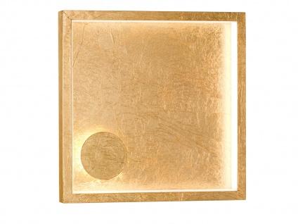 Quadratische LED Wandleuchte 20, 5 x 20, 5cm goldfarben 12W Wohnraumleuchte Flur