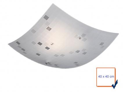 Eckige Deckenlampe 40x40cm, Glasschirm satiniert in weiß, dezent grau gemustert - Vorschau 3
