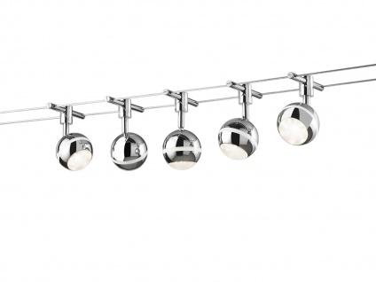 LED Lampen Seilsystem 5 LED Spots Kugel Chrom 5 Meter, Deckenleuchten Strahler