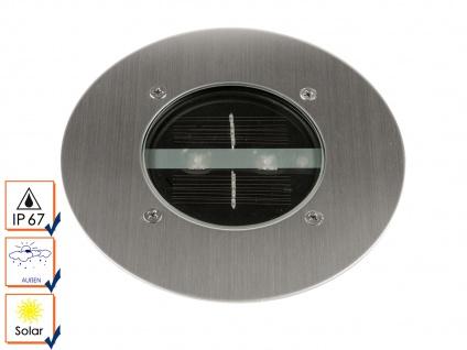 LED Solar Bodeneinbaustrahler, rund, gebürstetes Edelstahl IP67 RANEX - Vorschau 2