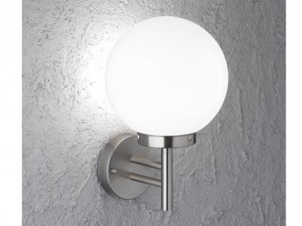 Wandleuchte / Außenleuchte Kugel Edelstahl & Glas weiß, LED Fassadenbeleuchtung