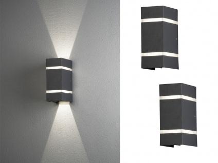 2 x LED Fassadenbeleuchtung aus ALU in anthrazit, moderne Gehwegleuchte H19, 5cm