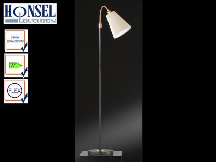 Stehleuchte mit LED Schwarz/Bronze Schirm Stoff flexibel H. 170cm Stehlampen