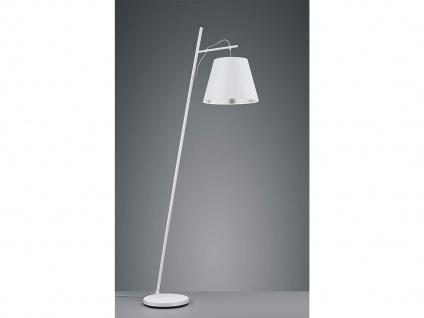 Moderne LED Stehlampe mit höhenverstellbarem Stofflampenschirm in weiß + silber