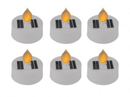 LED Teelichter Kerzen im 6er SET - solarbetriebene Solarleuchten für draußen