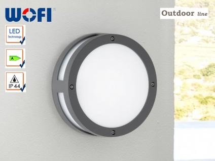 Runde LED Außenwandleuchte 22cm, anthrazit, IP44, Wofi-Leuchten