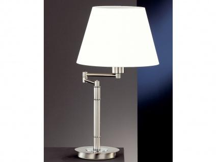 LED Tischlampe Hockerleuchte Silber groß mit Lampenschirm Stoff Weiß verstellbar
