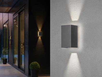 Edles 2er SET LED Außenwandlampen aus ALU in dunkelgrau, up and down Höhe 11cm