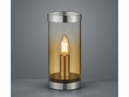 Ausgefallene Glas Tischleuchte Zylinder LED Tischlampe Nachttischlampe Gold