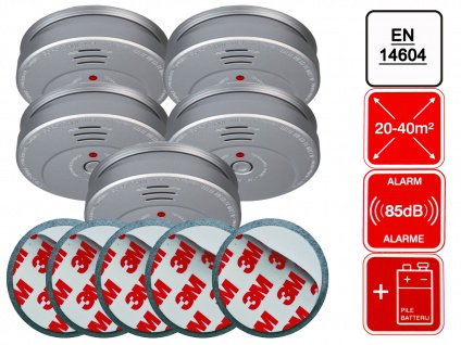 5er-Set Rauchmelder Aluminiumoptik inkl. 5 x Magnethalter 85dB Alarm