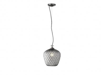 Pendelleuchte mit LED, Lampenschirm Glas rauchfarben 25cm, Flurlampe Küchenlampe