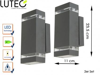2 LED Außenwandleuchten Aluguss eckig H. 23, 5cm Fassadenbeleuchtung Wandleuchte