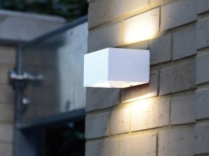 Hochwertige LED Außenwandleuchte ALU Weiß mit Up and Down Außenleuchten eckig S