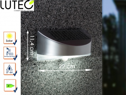 LED Außenwandleuchte Solar Bewegungssenor Silber IP44 Solarlampen Gartenlampen