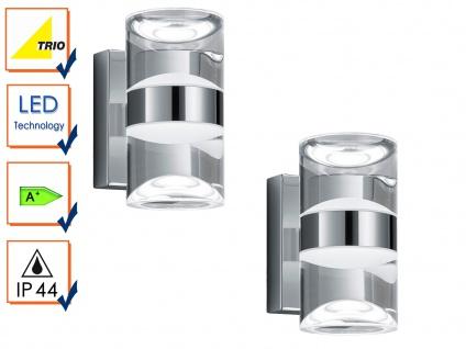 LED Badleuchte Wandlampe Serie 2827 Chrom, 2er Set, Acryl klar, IP44, Trio