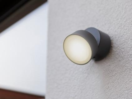 Kleine runde LED Außenwandleuchte mit 90° schwenkbarem Kopf ALU Anthrazit 8, 7cm?