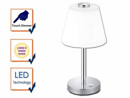 Elegante dimmbare LED Nachttischlampe TOUCH Nickel matt & Lampenschirm in weiss - Vorschau 3
