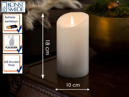 LED Echtwachskerze 3D Flamme & Timer Batteriebetrieb H. 18 cm Stimmungslicht
