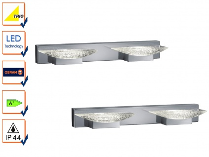 LED Badleuchte Wandlampe 2er Set, Chrom, Acryl klar mit Blasen, IP44, Trio