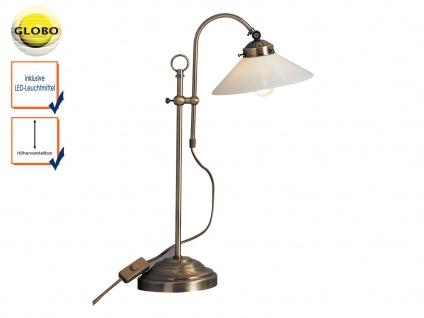 Höhenverstellbare Tischlampe mit LED, Lampenschirm Glas, Tischleuchte antik