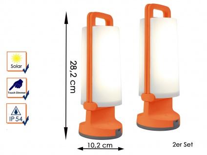 2 Universal LED Solarleuchten mit USB Ladefunktion dimmbar IP54 H. 28, 2cm Orange