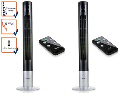 2er SET Turmventilator mit Fernbedienung in Schwarz 117cm hoch Standventilator