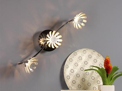 Dreiflammige florentiner Blumen Motiv LED Deckenlampe aus Metall in Blattsilber